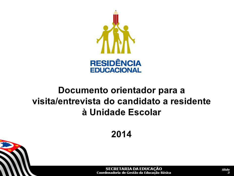 Documento orientador para a visita/entrevista do candidato a residente à Unidade Escolar