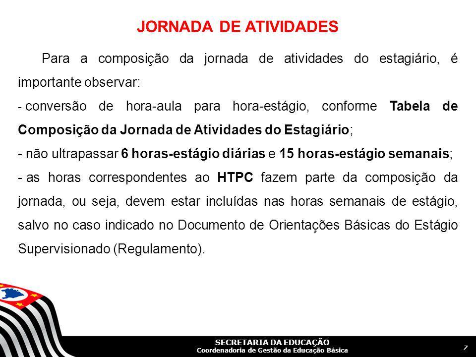 JORNADA DE ATIVIDADES Para a composição da jornada de atividades do estagiário, é importante observar: