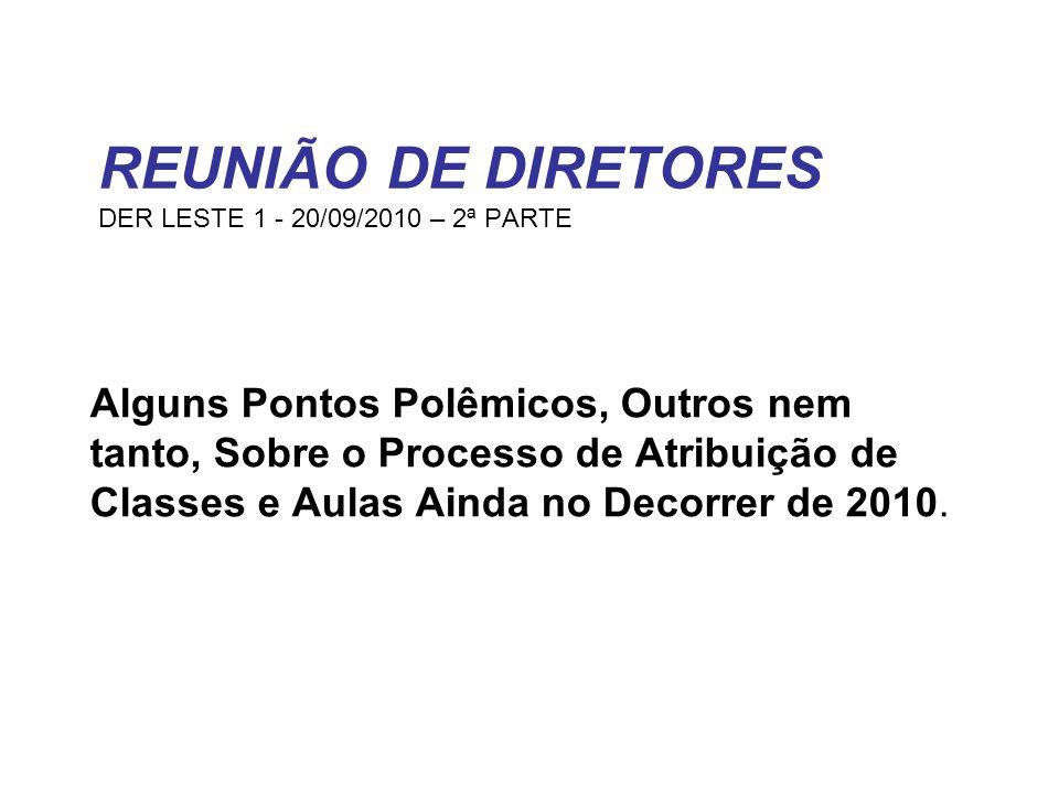 REUNIÃO DE DIRETORES DER LESTE 1 - 20/09/2010 – 2ª PARTE