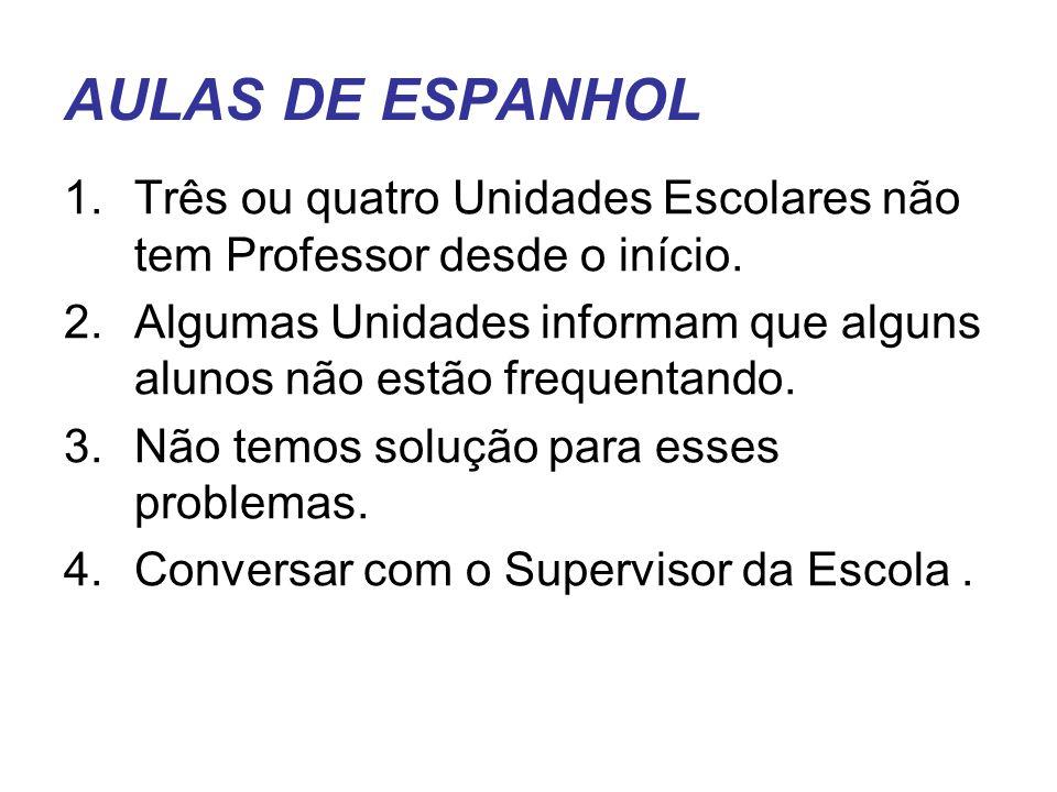 AULAS DE ESPANHOL Três ou quatro Unidades Escolares não tem Professor desde o início.
