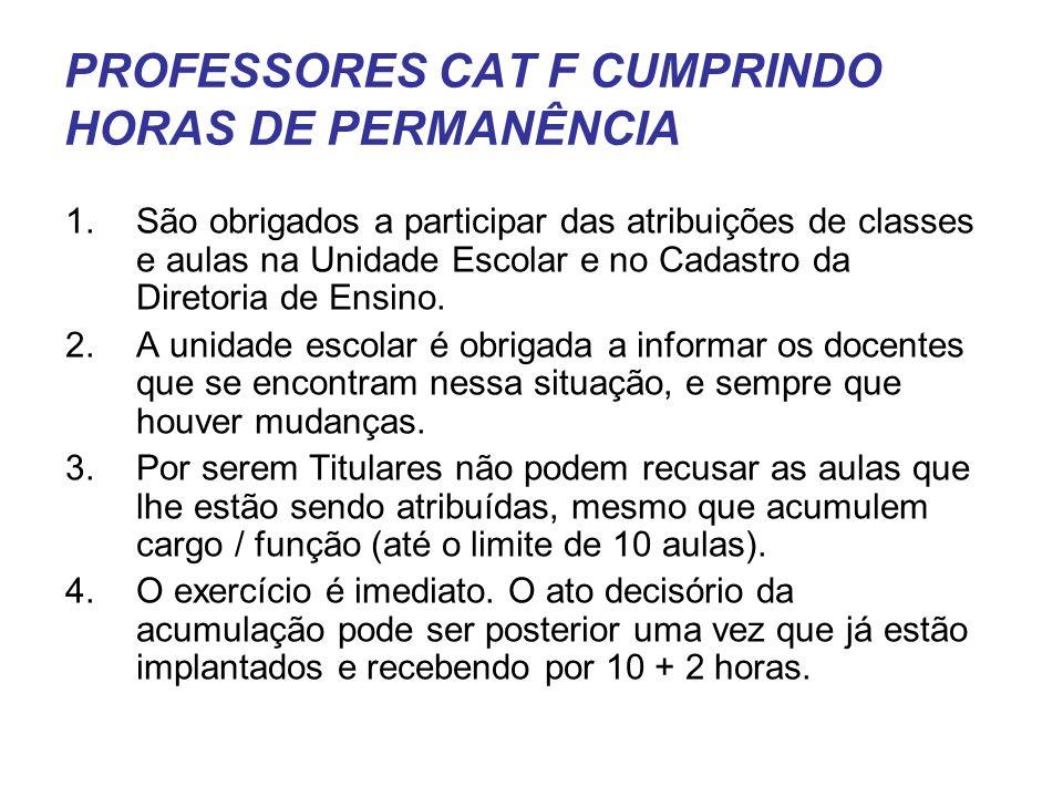 PROFESSORES CAT F CUMPRINDO HORAS DE PERMANÊNCIA