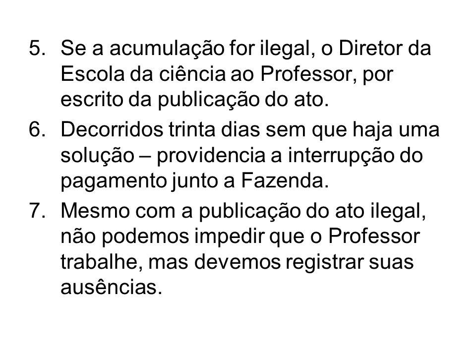 Se a acumulação for ilegal, o Diretor da Escola da ciência ao Professor, por escrito da publicação do ato.
