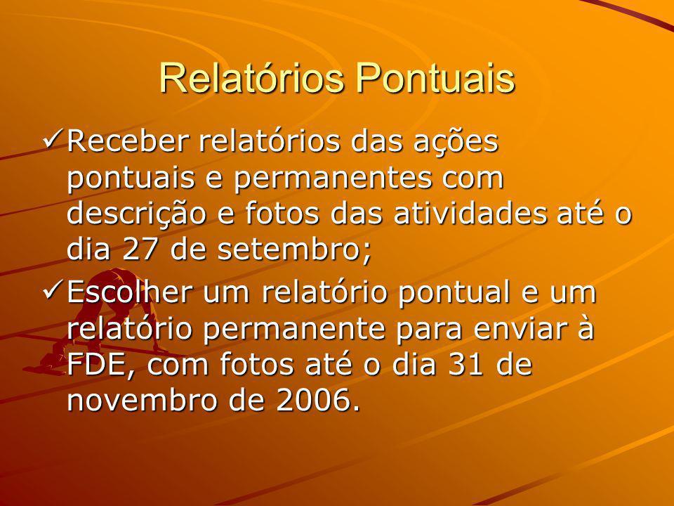 Relatórios Pontuais Receber relatórios das ações pontuais e permanentes com descrição e fotos das atividades até o dia 27 de setembro;