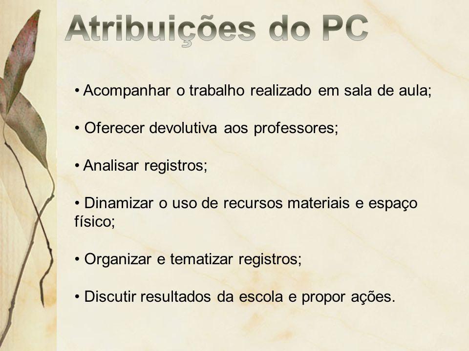 Atribuições do PC Acompanhar o trabalho realizado em sala de aula;