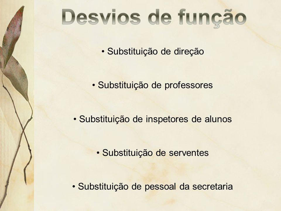 Desvios de função Substituição de direção Substituição de professores