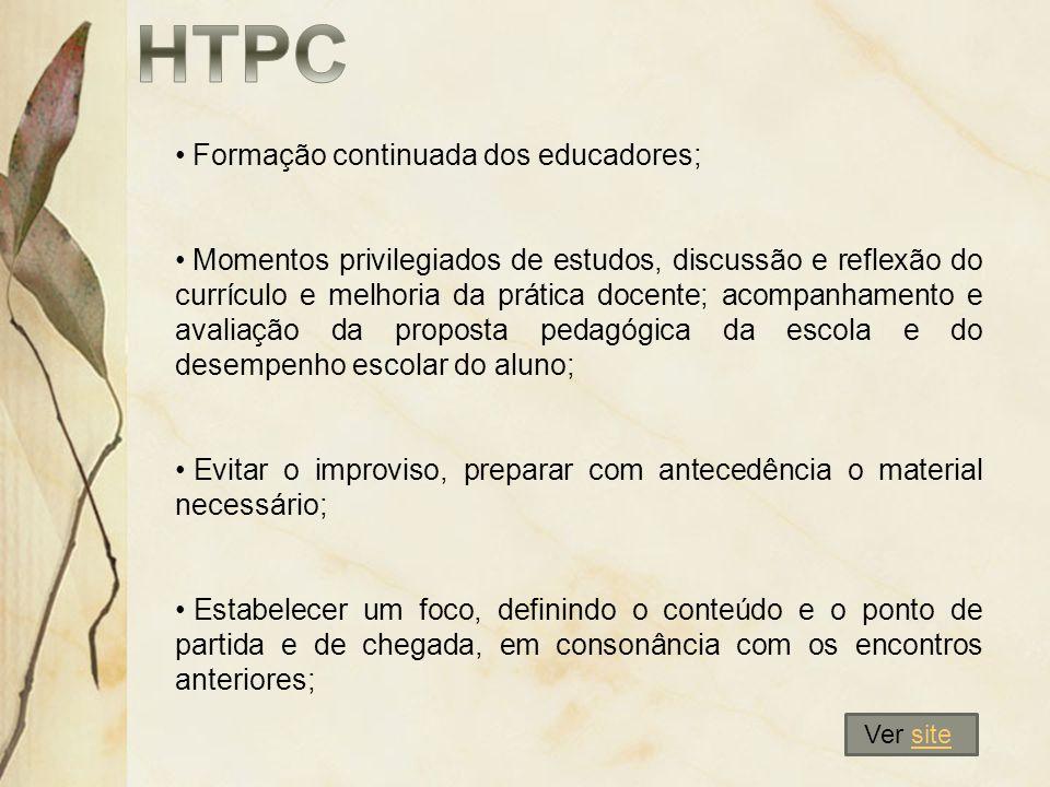 HTPC Formação continuada dos educadores;