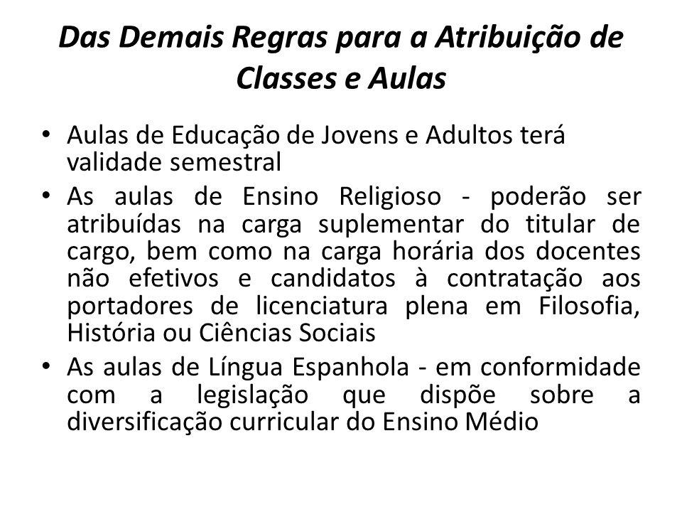 Das Demais Regras para a Atribuição de Classes e Aulas