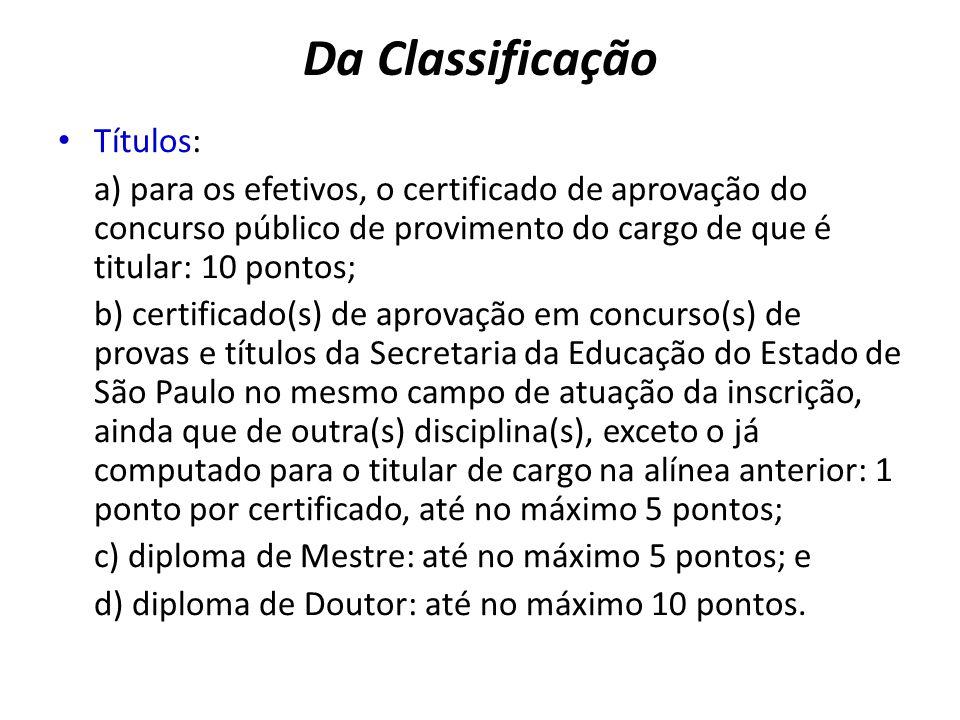 Da Classificação Títulos: