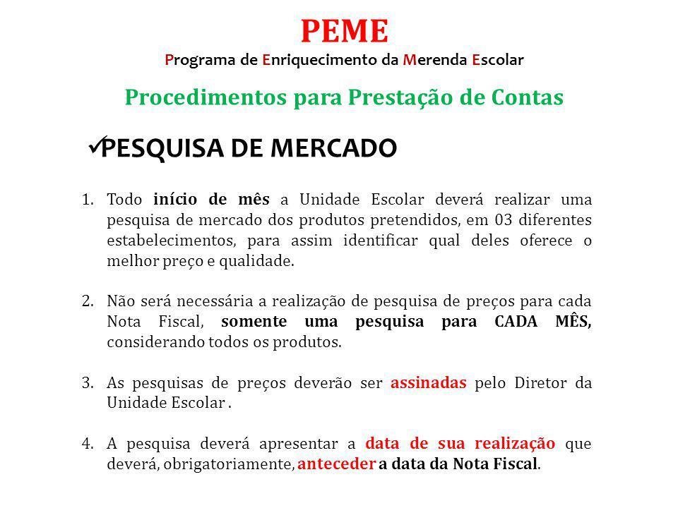 PEME PESQUISA DE MERCADO Procedimentos para Prestação de Contas