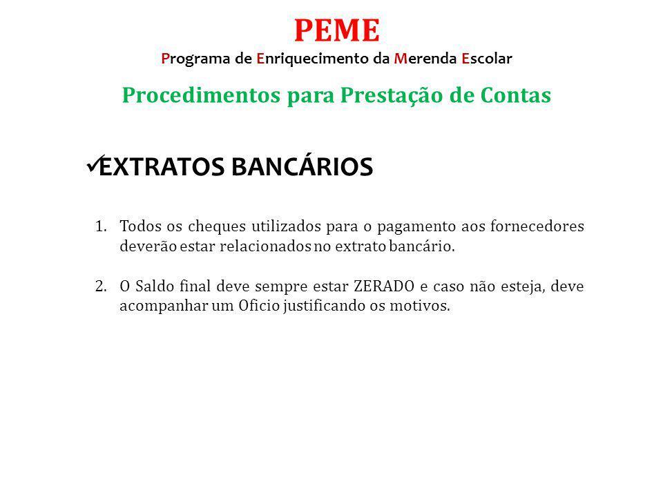 PEME EXTRATOS BANCÁRIOS Procedimentos para Prestação de Contas