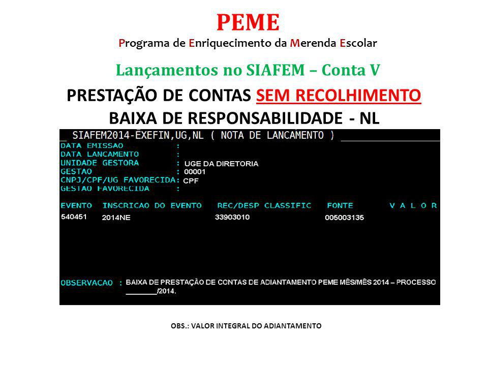 PEME PRESTAÇÃO DE CONTAS SEM RECOLHIMENTO