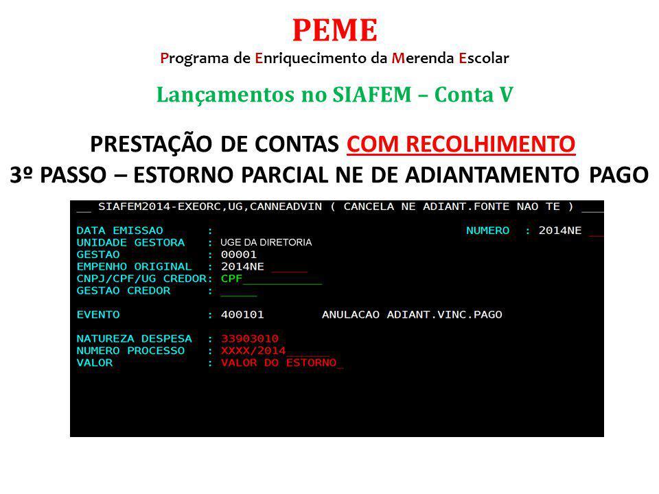 PEME Programa de Enriquecimento da Merenda Escolar. Lançamentos no SIAFEM – Conta V.