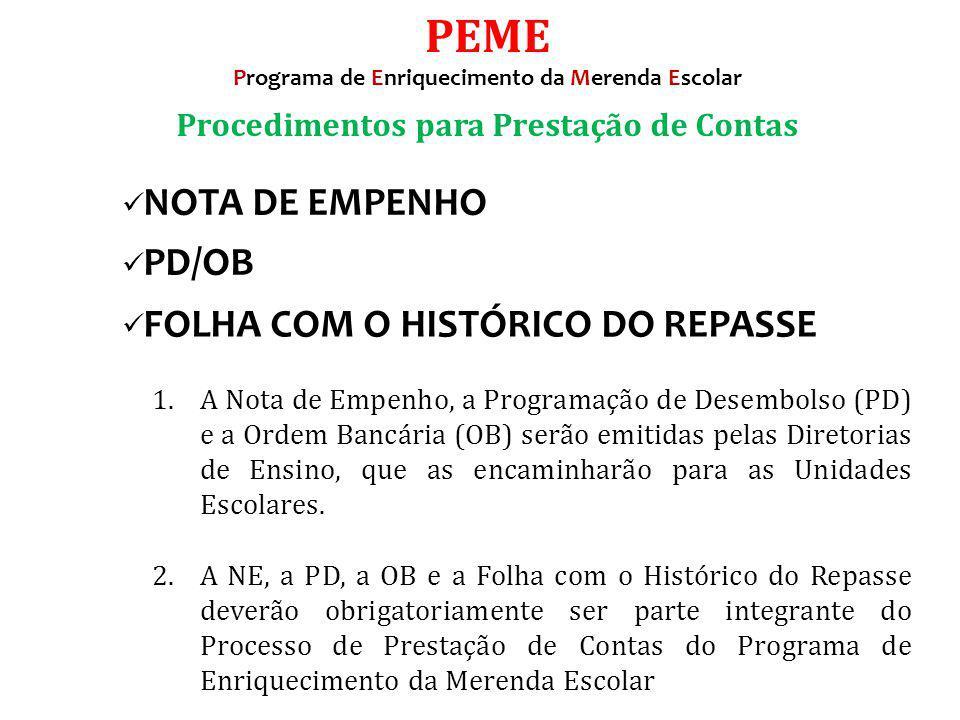 PEME Procedimentos para Prestação de Contas NOTA DE EMPENHO PD/OB
