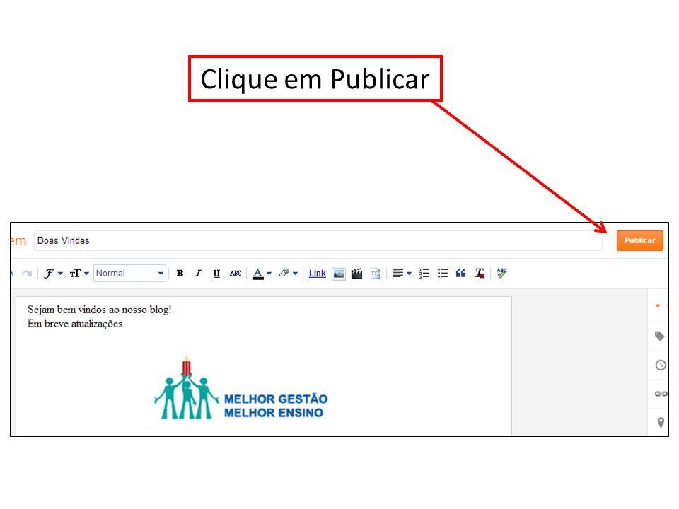 Clique em Publicar