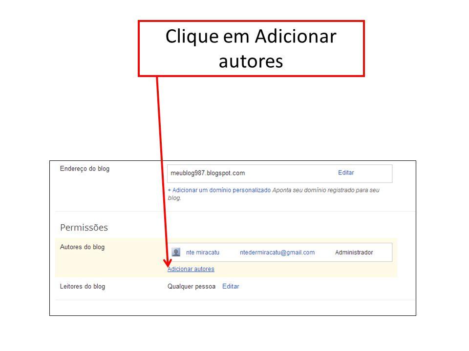 Clique em Adicionar autores
