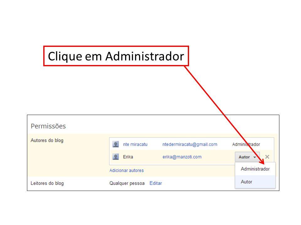 Clique em Administrador