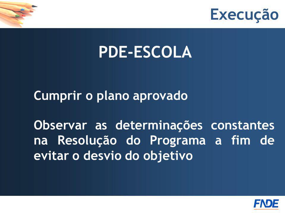 Execução PDE-ESCOLA Cumprir o plano aprovado