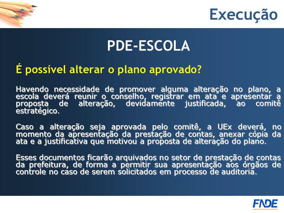Execução PDE-ESCOLA. É possível alterar o plano aprovado