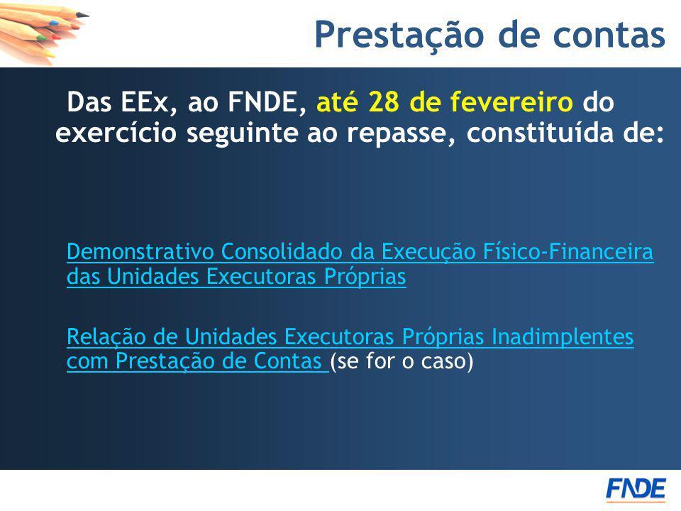Prestação de contas Das EEx, ao FNDE, até 28 de fevereiro do exercício seguinte ao repasse, constituída de: