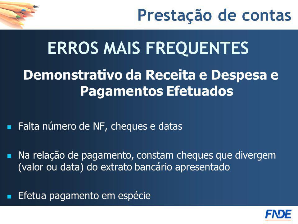 Demonstrativo da Receita e Despesa e Pagamentos Efetuados