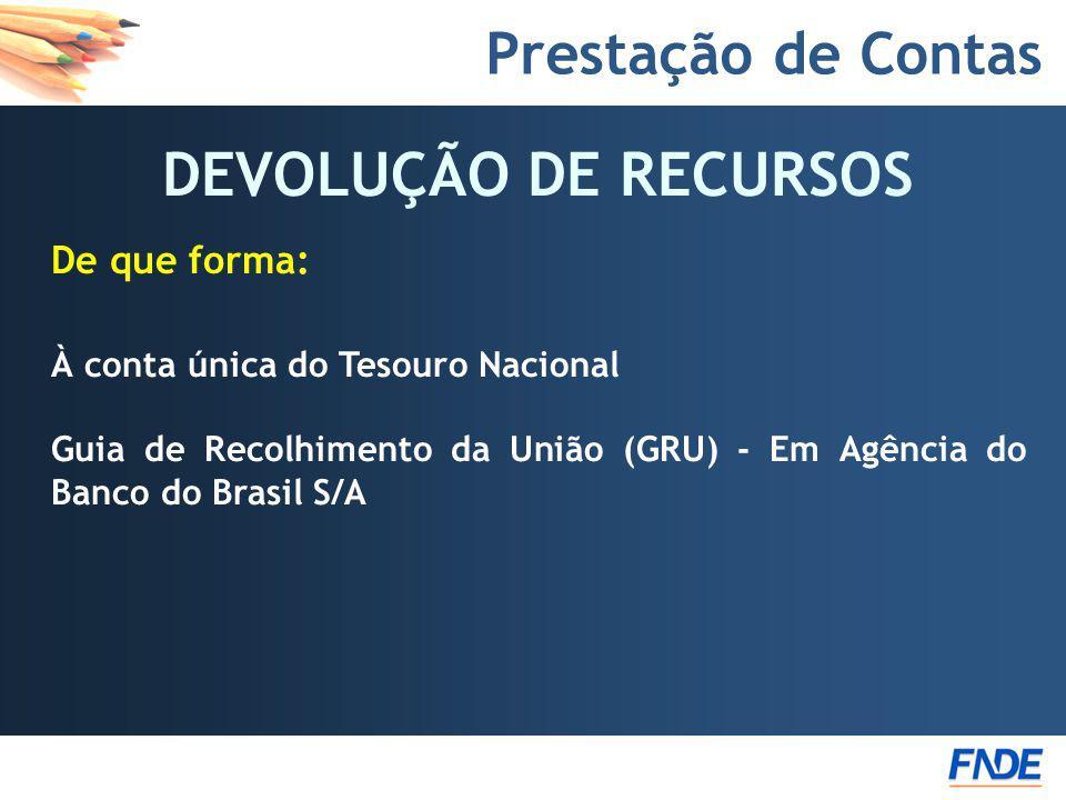 Prestação de Contas DEVOLUÇÃO DE RECURSOS De que forma: