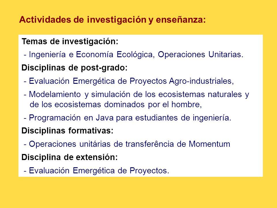 Actividades de investigación y enseñanza: