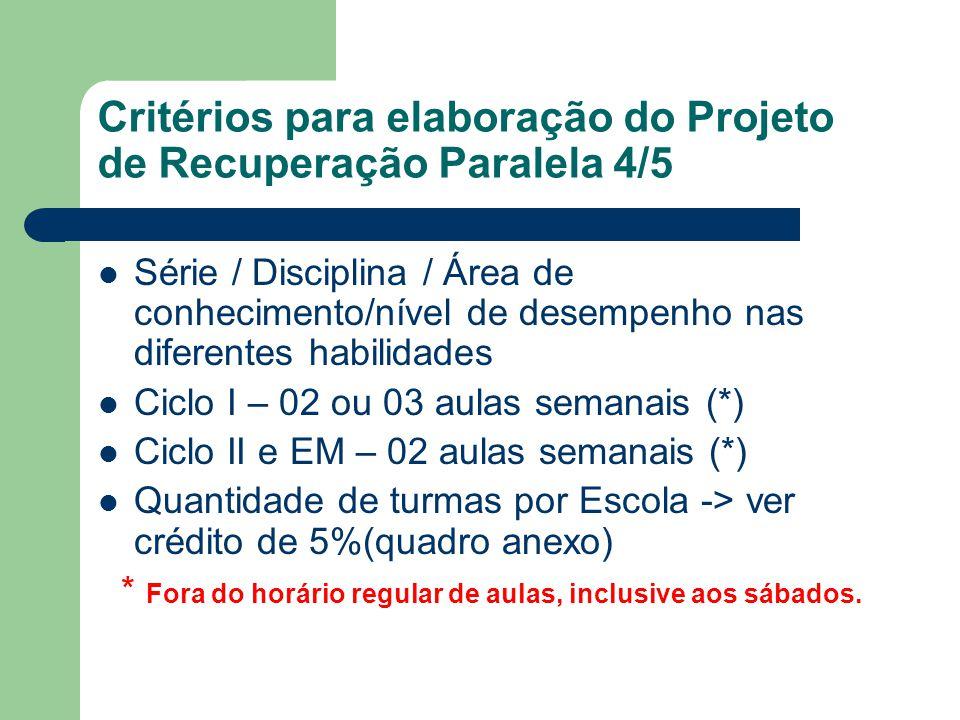 Critérios para elaboração do Projeto de Recuperação Paralela 4/5