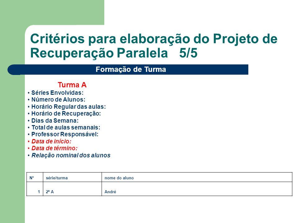 Critérios para elaboração do Projeto de Recuperação Paralela 5/5