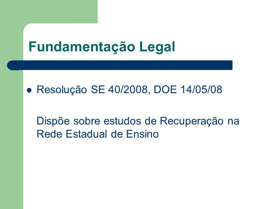 Fundamentação Legal Resolução SE 40/2008, DOE 14/05/08