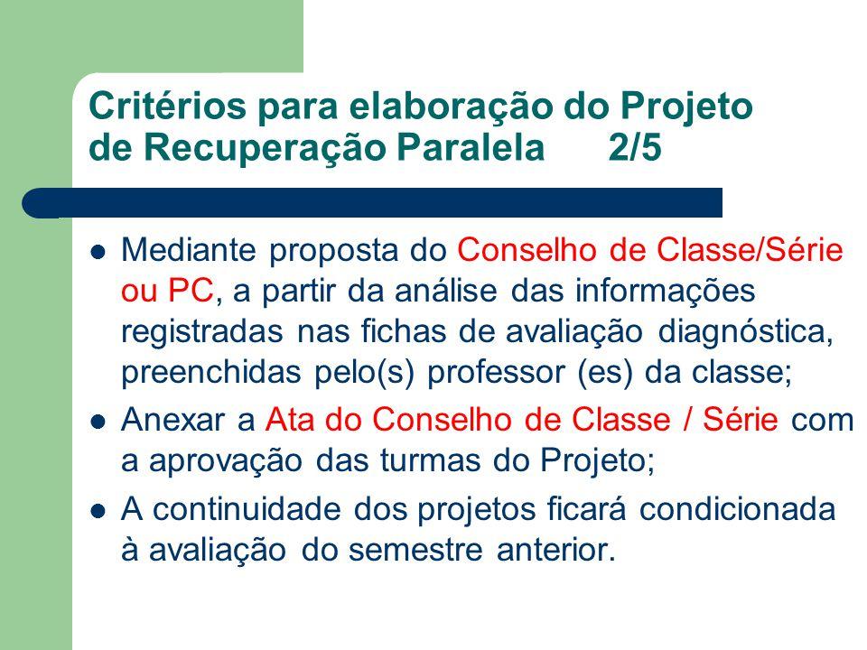 Critérios para elaboração do Projeto de Recuperação Paralela 2/5