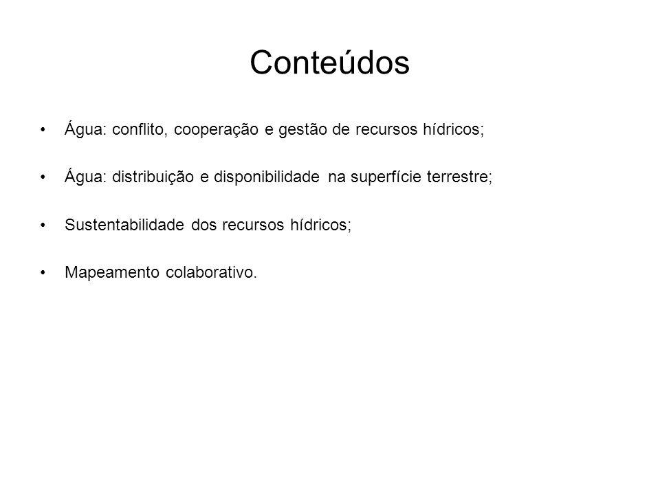 Conteúdos Água: conflito, cooperação e gestão de recursos hídricos;