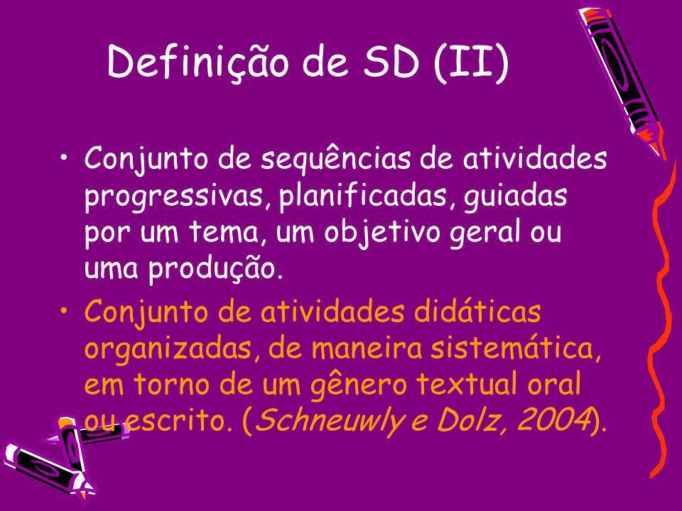 Definição de SD (II) Conjunto de sequências de atividades progressivas, planificadas, guiadas por um tema, um objetivo geral ou uma produção.