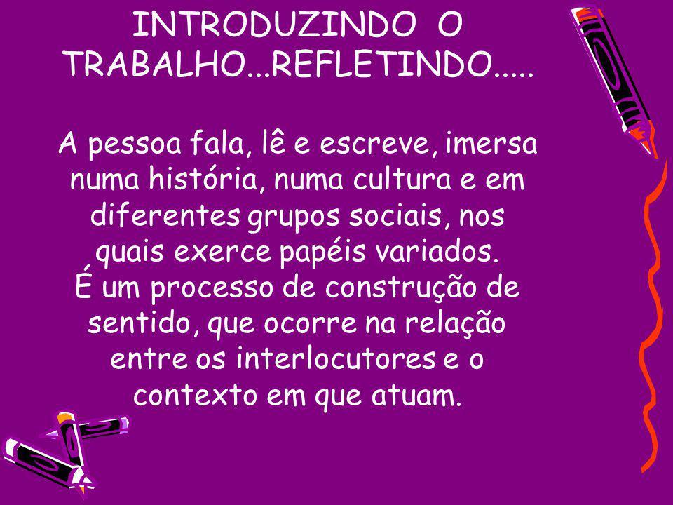 INTRODUZINDO O TRABALHO. REFLETINDO