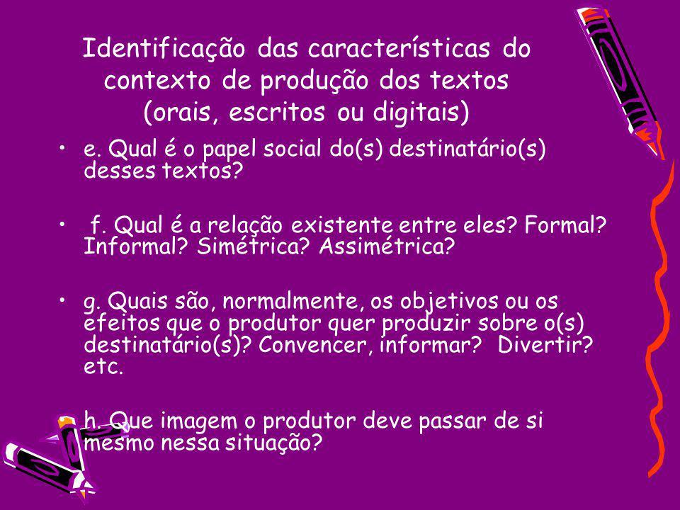 Identificação das características do contexto de produção dos textos (orais, escritos ou digitais)