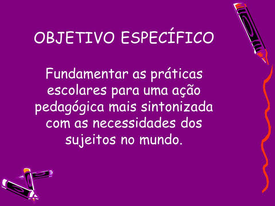 OBJETIVO ESPECÍFICO Fundamentar as práticas escolares para uma ação pedagógica mais sintonizada com as necessidades dos sujeitos no mundo.