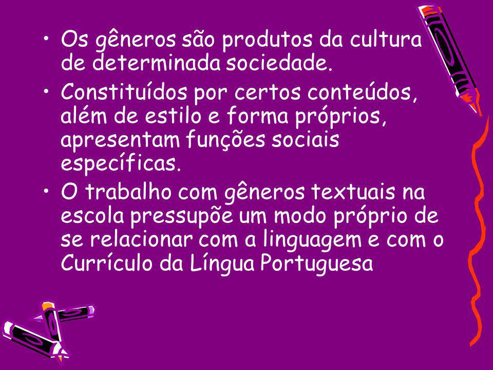 Os gêneros são produtos da cultura de determinada sociedade.