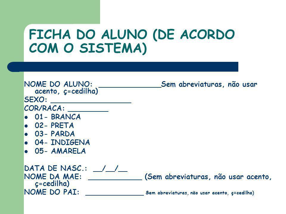 FICHA DO ALUNO (DE ACORDO COM O SISTEMA)