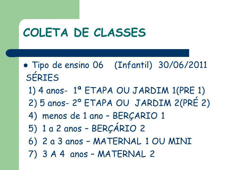 COLETA DE CLASSES Tipo de ensino 06 (Infantil) 30/06/2011 SÉRIES