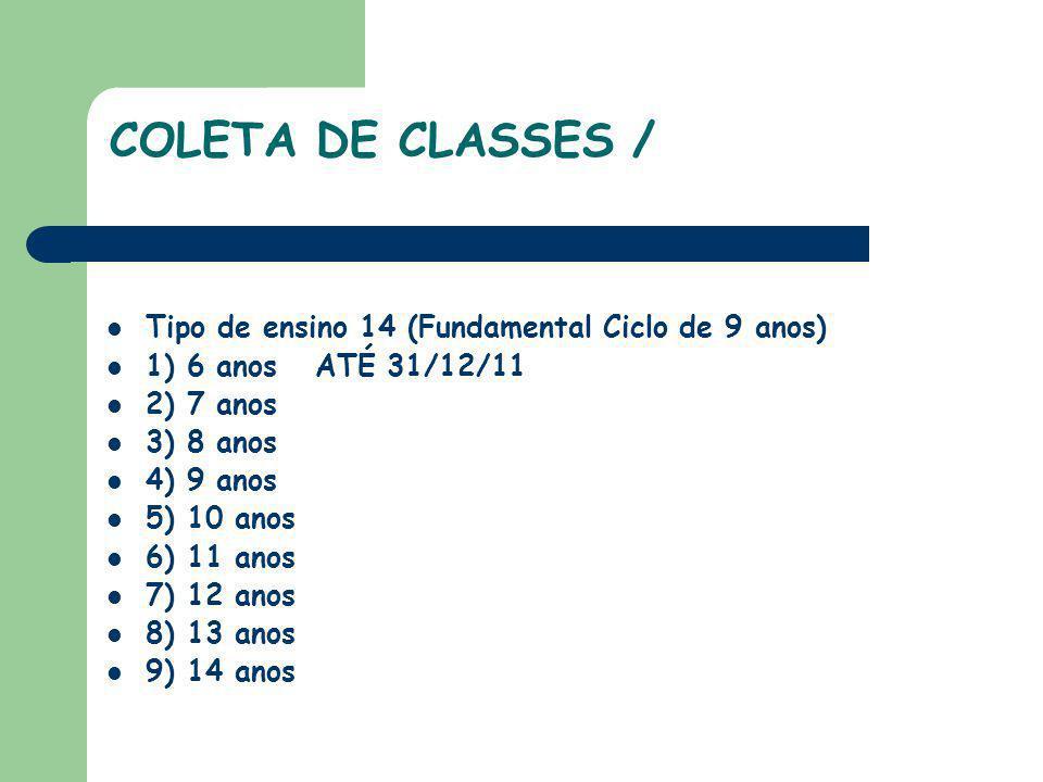 COLETA DE CLASSES / Tipo de ensino 14 (Fundamental Ciclo de 9 anos)