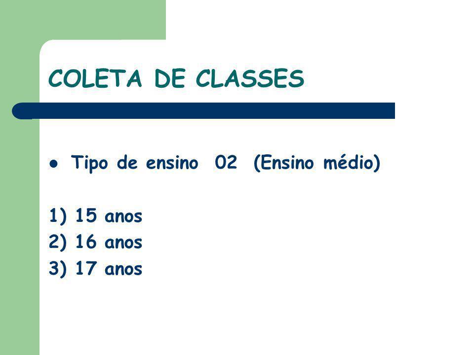 COLETA DE CLASSES Tipo de ensino 02 (Ensino médio) 1) 15 anos