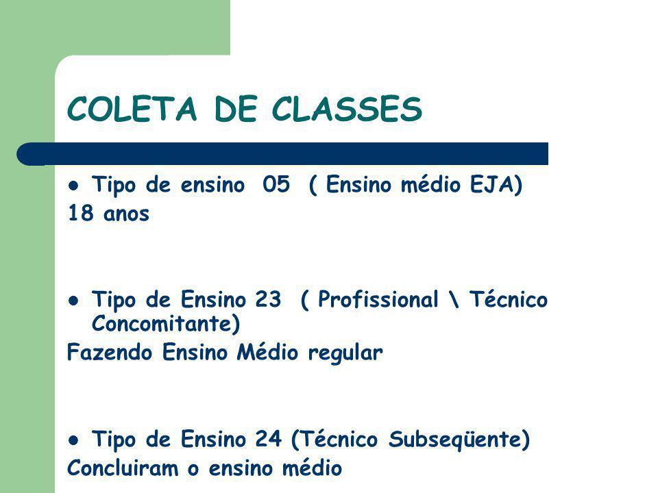COLETA DE CLASSES Tipo de ensino 05 ( Ensino médio EJA) 18 anos