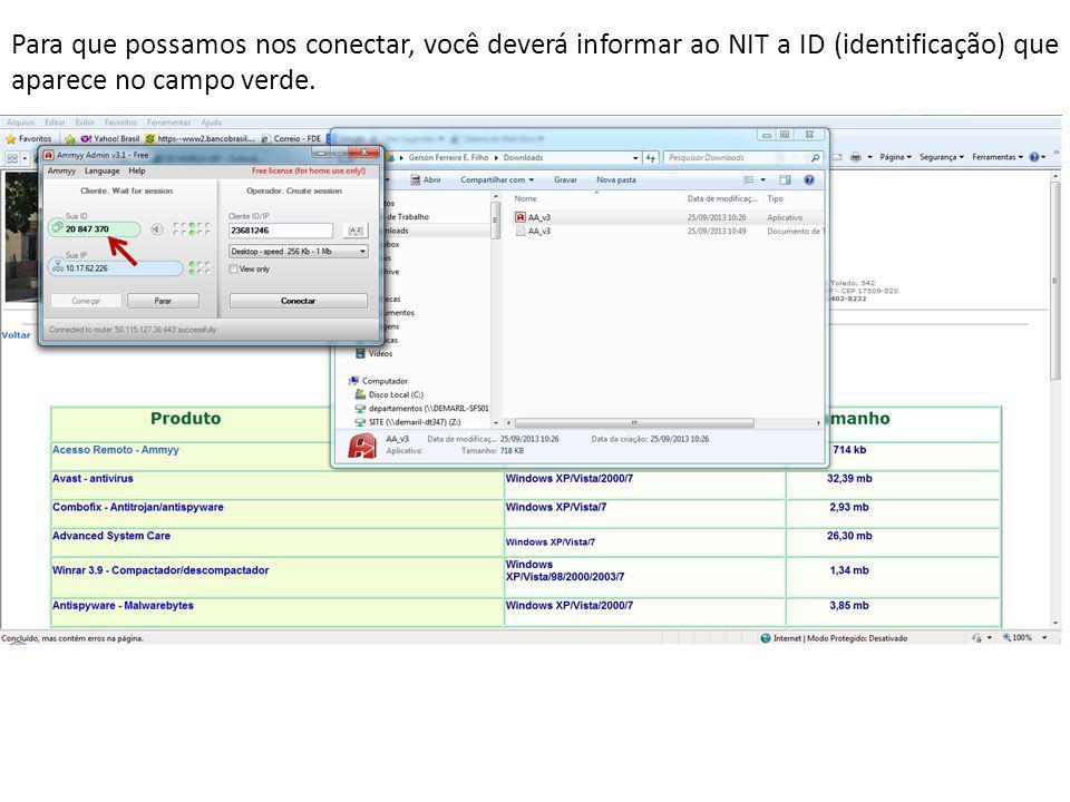Para que possamos nos conectar, você deverá informar ao NIT a ID (identificação) que aparece no campo verde.