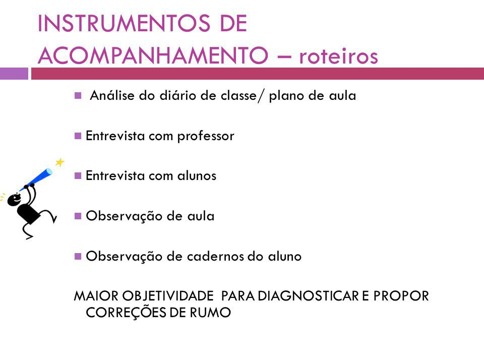 INSTRUMENTOS DE ACOMPANHAMENTO – roteiros