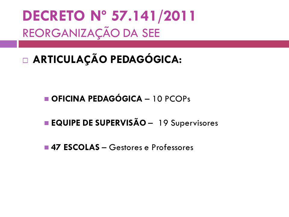 DECRETO Nº 57.141/2011 REORGANIZAÇÃO DA SEE