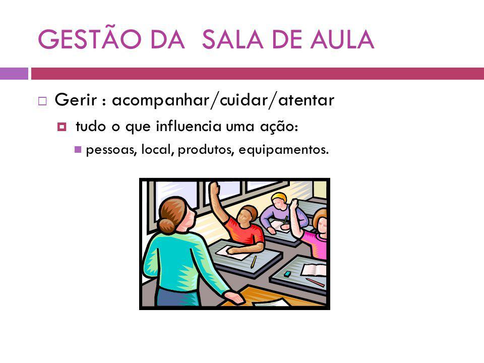 GESTÃO DA SALA DE AULA Gerir : acompanhar/cuidar/atentar