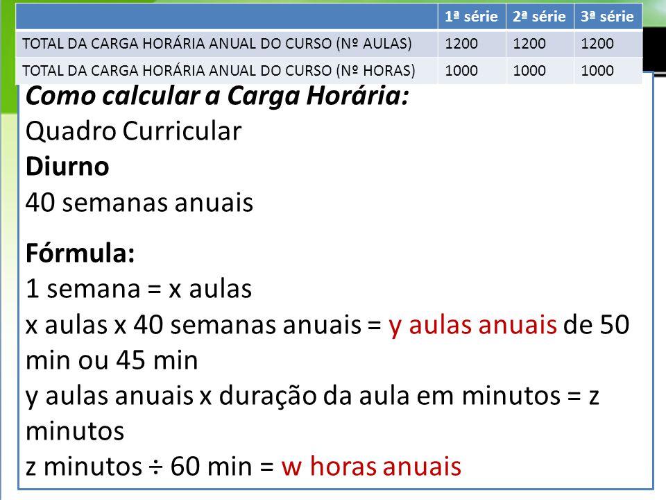 Como calcular a Carga Horária: Quadro Curricular Diurno