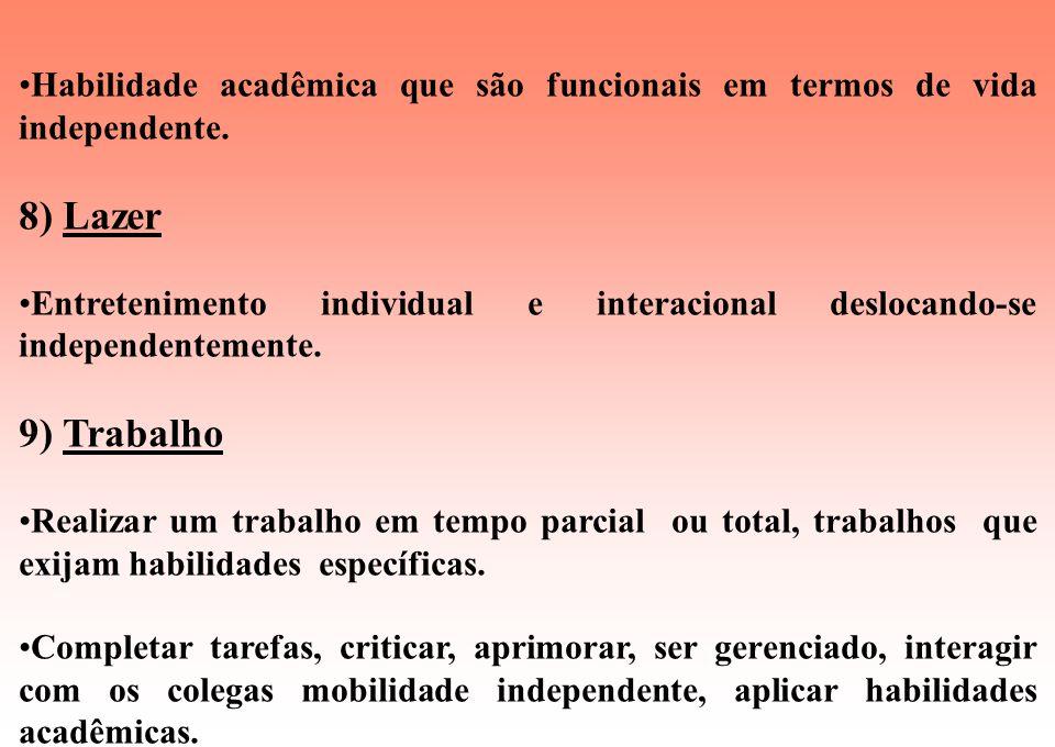 Habilidade acadêmica que são funcionais em termos de vida independente.