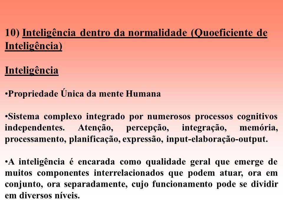 10) Inteligência dentro da normalidade (Quoeficiente de Inteligência)