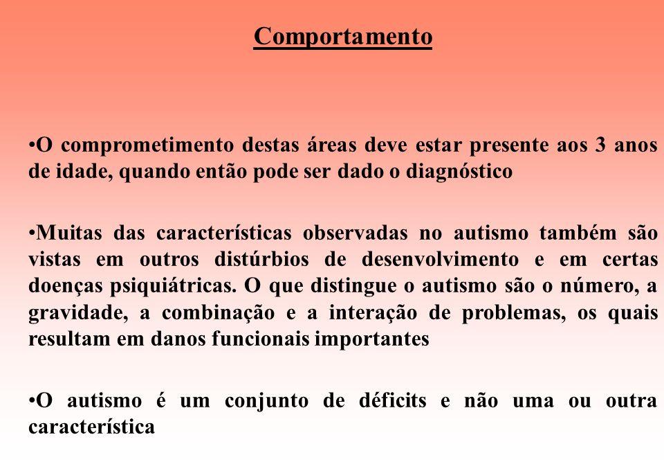 Comportamento O comprometimento destas áreas deve estar presente aos 3 anos de idade, quando então pode ser dado o diagnóstico.