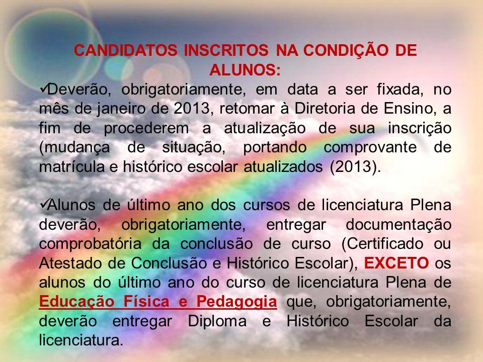 CANDIDATOS INSCRITOS NA CONDIÇÃO DE ALUNOS: